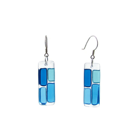 Cobblestones Glass Earrings - Aqua