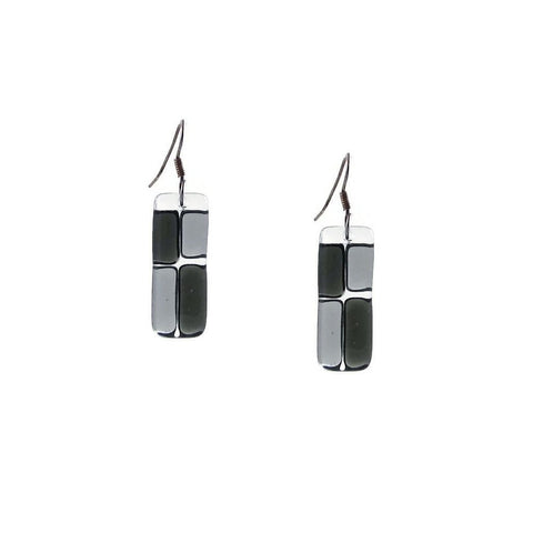 Cobblestones Glass Earrings - Black