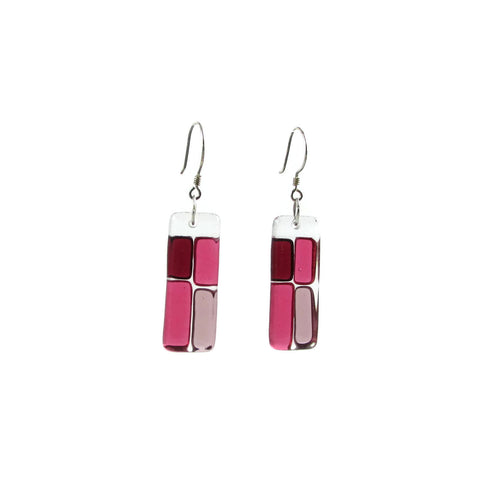 Cobblestones Glass Earrings - Cherry