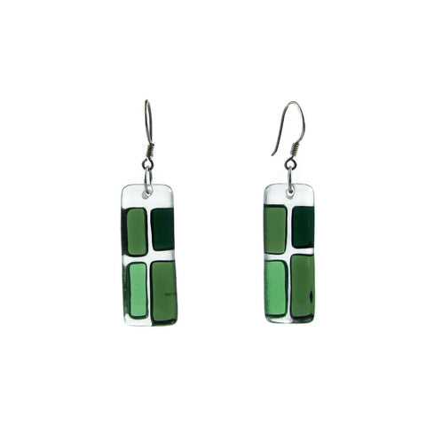Cobblestones Glass Earrings - Green