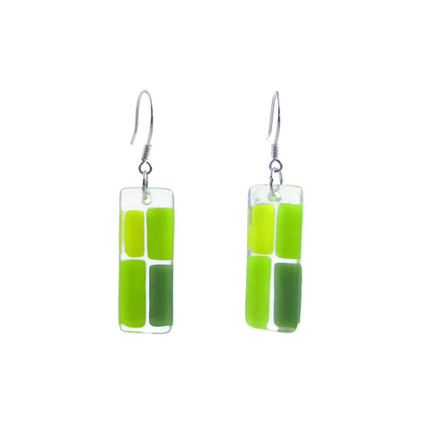 Cobblestones Glass Earrings - Lime Green