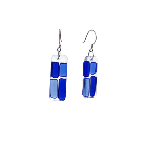 Cobblestones Glass Earrings - Navy