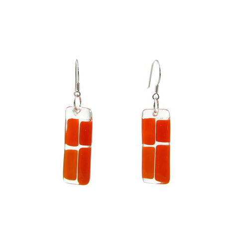 Cobblestones Glass Earrings - Orange