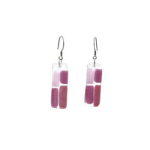 Cobblestones Glass Earrings - Pink