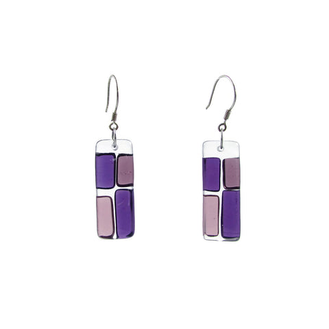 Cobblestones Glass Earrings - Purple