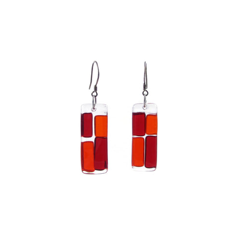 Cobblestones Glass Earrings - Red