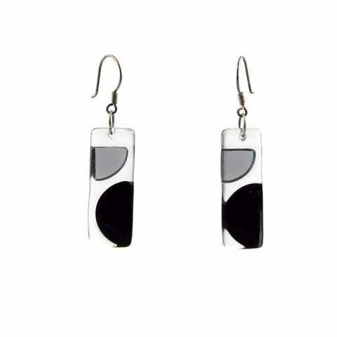 Onda Glass Earrings - Black