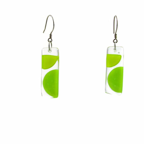 Onda Glass Earrings - Lime Green