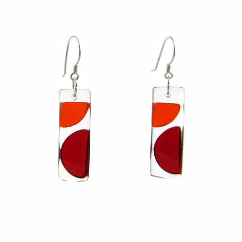 Onda Glass Earrings - Red