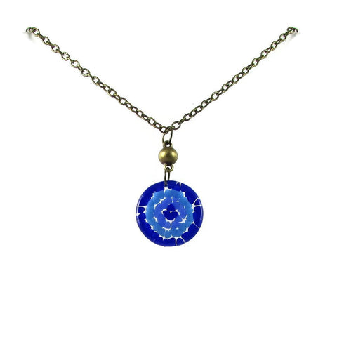 Mosaic Medallion Necklace - Blue
