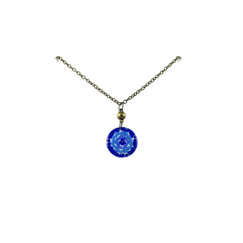Mosaic Medallion Necklace - Brown & Blue