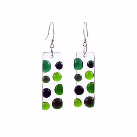 Bubbles Glass Earrings - Green