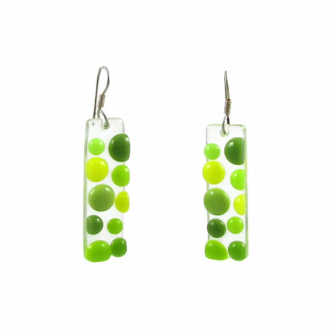 Bubbles Glass Earrings - Lime Green