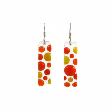 Bubbles Glass Earrings - Orange
