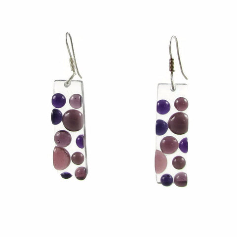 Bubbles Glass Earrings - Purple