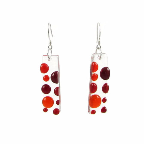 Bubbles Glass Earrings - Red