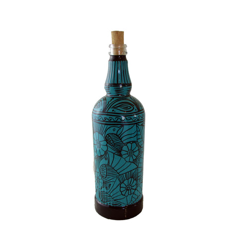"""Birds"" Hand-Painted Bottle"
