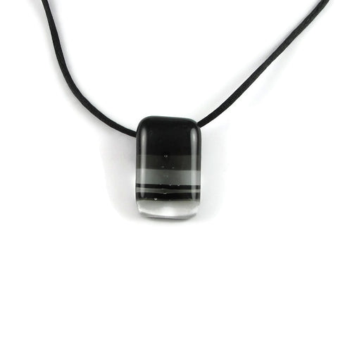Handmade fused glass mini pendant Ombre with black lines in different thickness