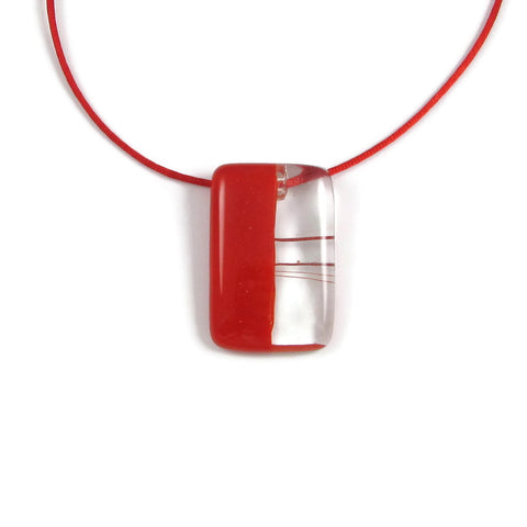 Mitad Glass Pendant - Red