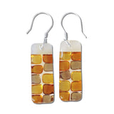 Checkerboard Glass Earrings - White