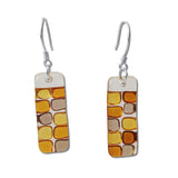 Checkerboard Glass Earrings - Green