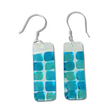 Checkerboard Glass Earrings - Red