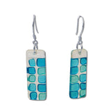 Checkerboard Glass Earrings - Pink