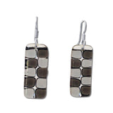 Checkerboard Glass Earrings - Aqua