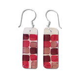 Checkerboard Glass Earrings - Lime