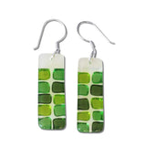 Checkerboard Glass Earrings - Orange