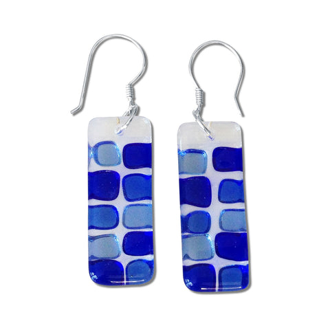 Checkerboard Glass Earrings - Navy