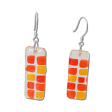 Checkerboard Glass Earrings - Cherry