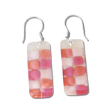 Checkerboard Glass Earrings - Amber