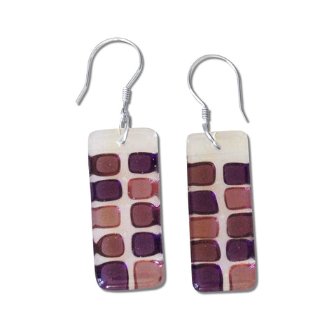 Checkerboard Glass Earrings - Purple
