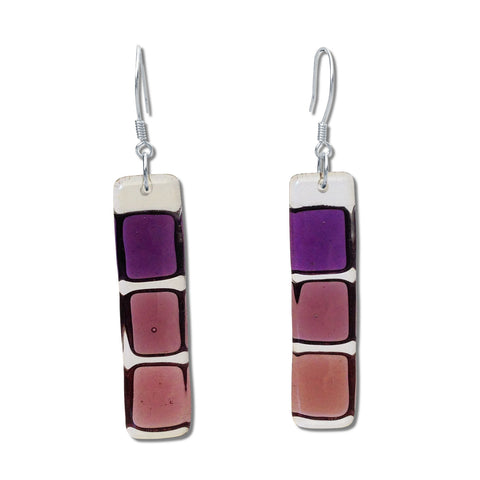 LMOL Glass Earrings - Purple