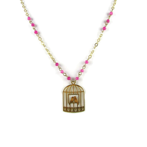 Valentine Bird Cage Necklace