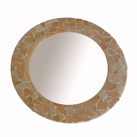 Small Mosaic Glass Mirror - Pink