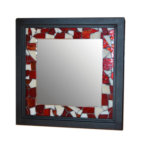 Red & White Square Mirror