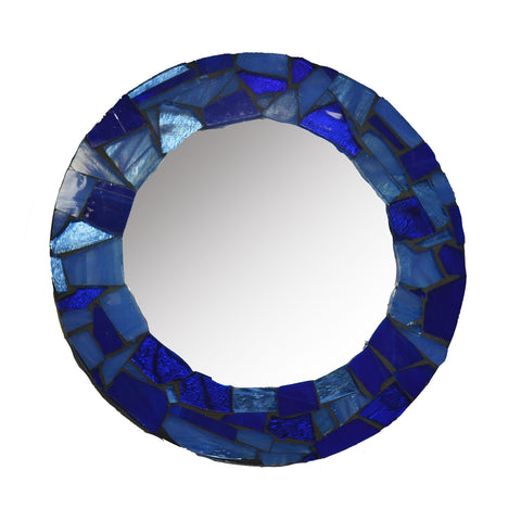 Small Mosaic Glass Mirror - Navy Blue