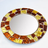 Small Mosaic Glass Mirror - Amber