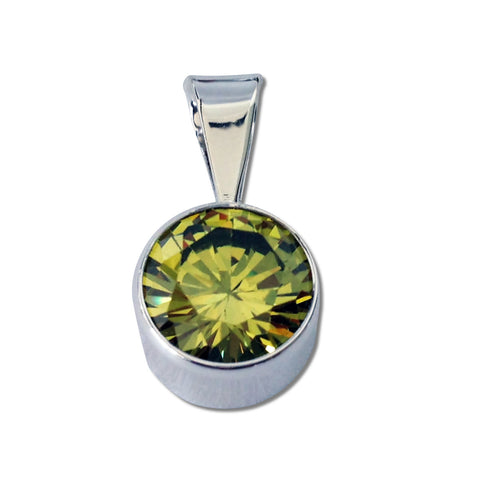 Round CZ Pendant - 4 Colors Available