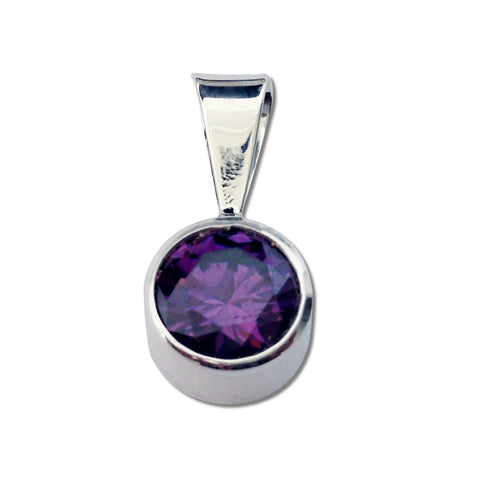 Round CZ Pendant - 5 Colors Available