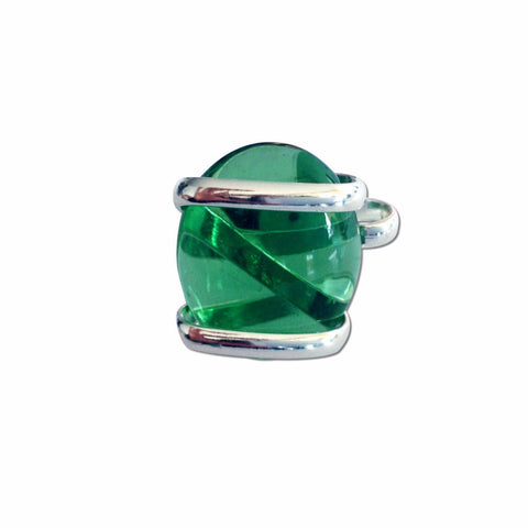 Parallel Glass Ring - Green Crystal
