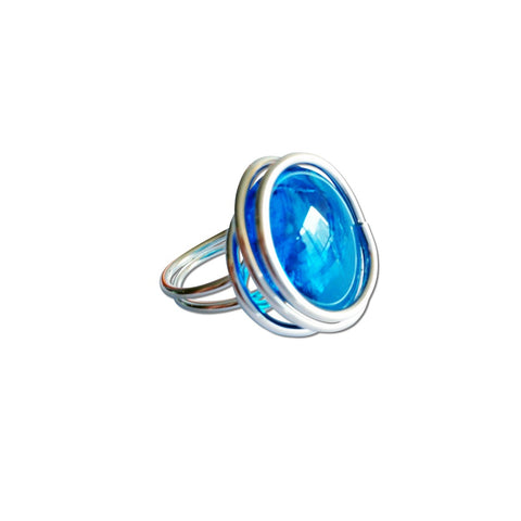 Infinity Glass Ring - Turquoise Crystal