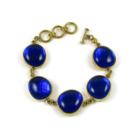 Tumbaga & Glass Bracelet - Navy