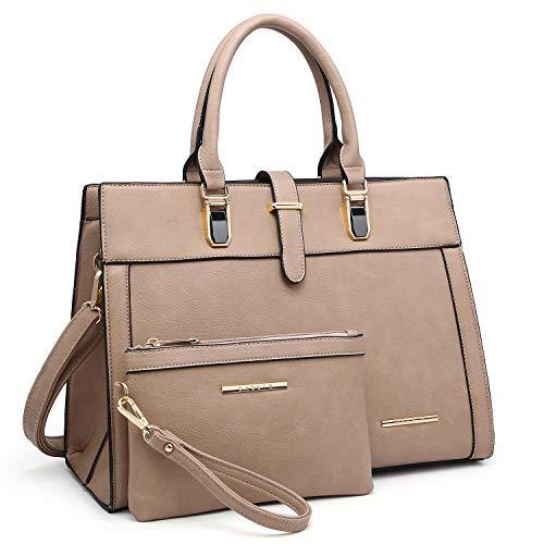 Women Flap-over Belt Top Handle Tote Satchel Purse Work Bag Matching Wristlet bag丨Dasein