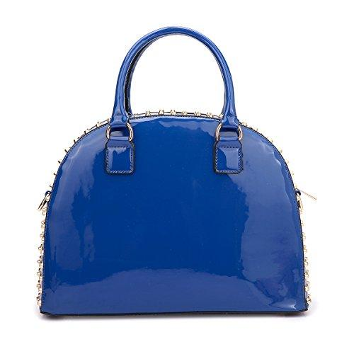 Vegan Leather Handbag Domed Satchel Rhinstone Structured Shoulder Bag丨Dasein