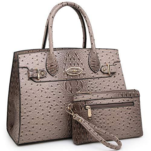 Fashion embossed Shoulder Top Handle Satchel Tote Bag with Matching Clutch丨Dasein