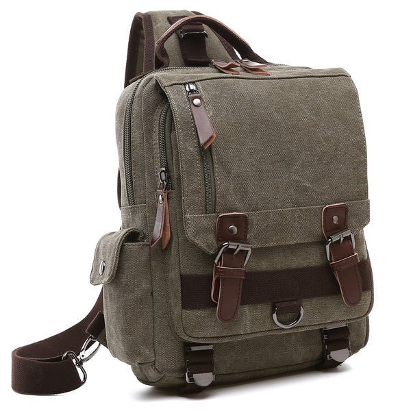 Dasein Vintage Unisex Medium Size Canvas Backpack-Single strap/Sling Bag
