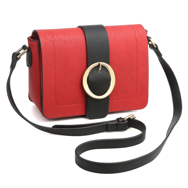 Dasein Front Flap Snap Closure Messenger Bag with Decorative Round Buckle Design